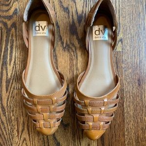 Dolce Vita brown leather weave flats